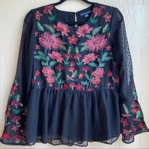 American Eagle Floral Embroidered Swiss Dot Blouse